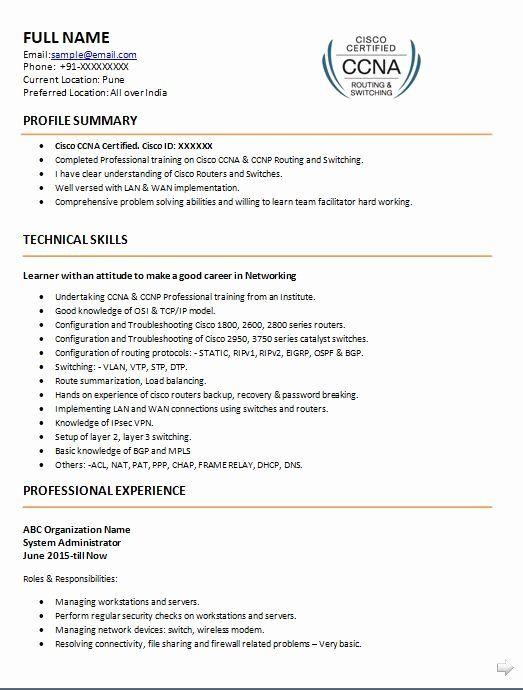 Cisco Network Engineer Resume Elegant Ccna Resume Samples Top 5 Ccna Resume Templates In Doc Sample Resume Cv Cover Letter Resume