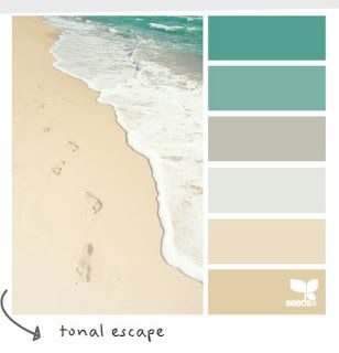 I have nothing to decorate at this time, but the colors caught my eye. They are perfect!  Coastal and Beach Decor: Coastal Decor Color Palette - Tonal Escape
