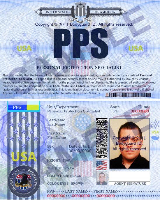 Personalprotectionspecialist Folio Id Card  HttpBodyguardids
