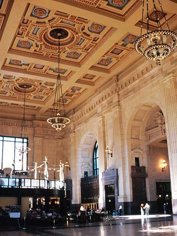 Union Station in Kansas City MO was a restored 1914 train station and is now home to shops, restaurants, Science City interactive science museum, a model railroad exhibit, an IMAX theater, a planetarium, an exhibit on the history of the American railroad and more.