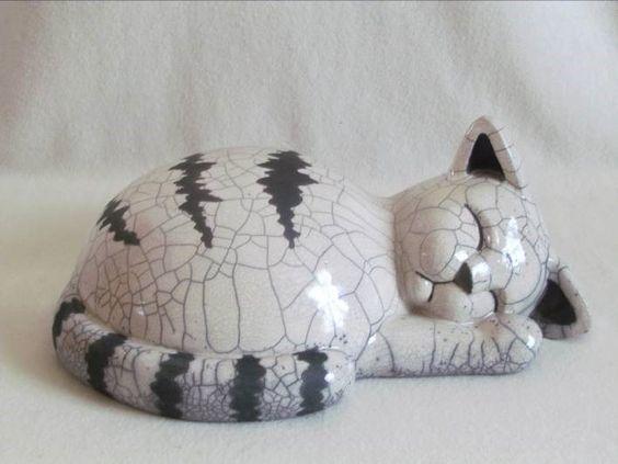 Sculpture raku animal chat fait main pi ce unique - Idee de poterie ...
