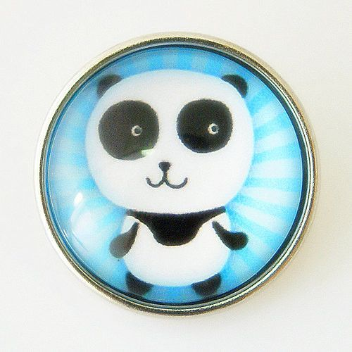 Panda In Blue Lampwork Glass Button Bead Noosa Snap On Chunk Chunk 20m – Your Charmed Story