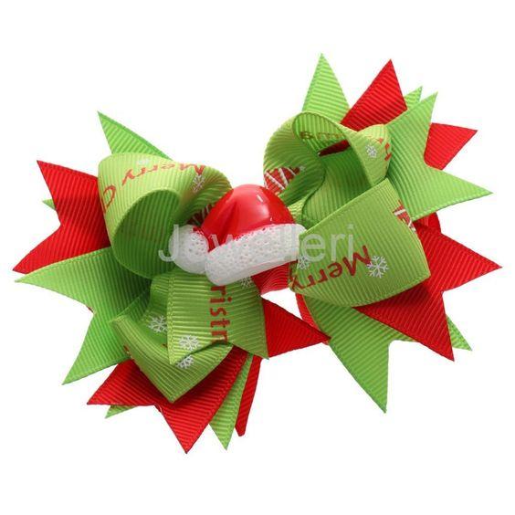 Hair Bow Ribbon Baby Girls Kids Child Hair Pin Clip Xmas Hat Handband Decor