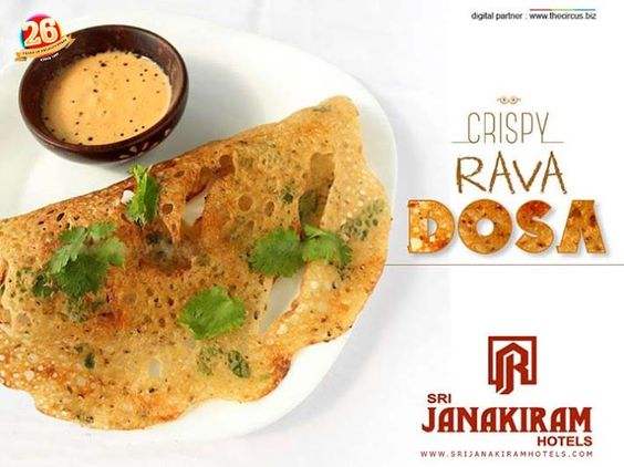 A thin, crisp #rava #dosa topped with an onion-green chilly mixture served with spicy #coconut #chutney at Srijanakiram Hotels makes you say wooow....  #srijanakiram #evening #special #ravadosa