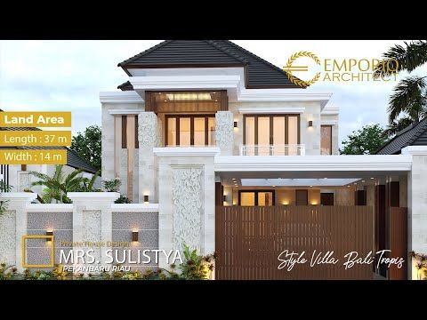 Desain Rumah Mewah Style Villa Bali Tropis Ibu Sulistya Dengan Lebar Lahan 14m Dan Panjang 37m Youtube Desain Rumah Desain Rumah Eksterior Desain Lantai