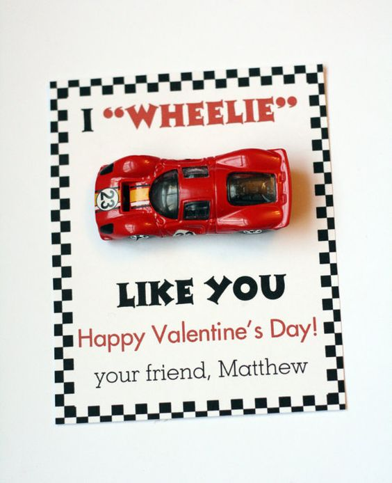 Boy Personalized Car Valentine's Card- I Wheelie like you Happy Valentine's Day-DIY Printable. $5.00, via Etsy.