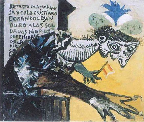 """Pablo Picasso. """"Retrato de la marquesa de culo cristiano echándole un duro a los soldados moros defensores de la virgen"""" (1937).:"""