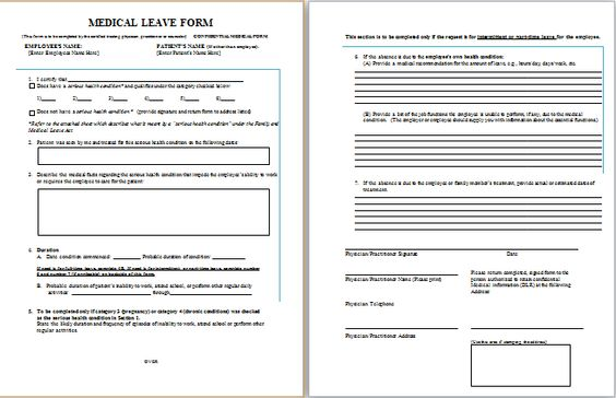 Job leave medical form at http\/\/wwwbestmedicalforms\/job - confidential memo template