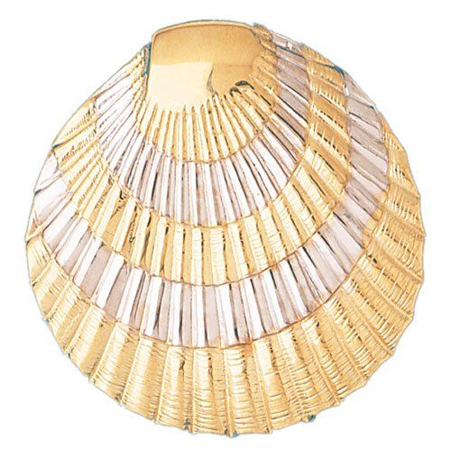 14k Two-Tone Gold Shell Pendant...