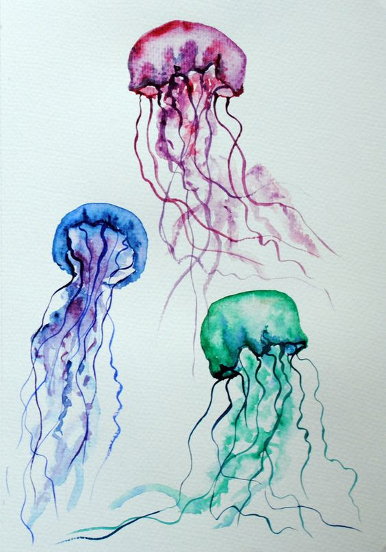 Jelly fish watercolor 2 by ~Lunicqa on deviantART