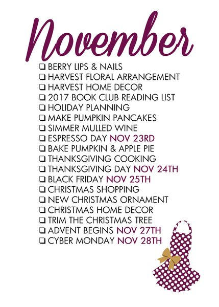 November Seasonal Living List: