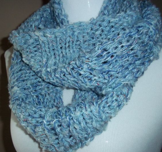 Soft Blue Textured Infinity Cowl Handknit Scarf on Etsy, $45.00