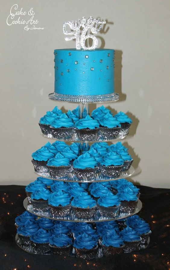 Blue cake and cupcake tower Ombré blue sweet 16 sweet sixteen