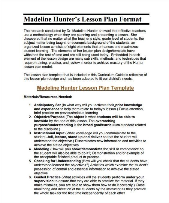 Free 11 Sample Madeline Hunter Lesson Plan Templates In Pdf With Madeline Hunter In 2020 Madeline Hunter Lesson Plan Lesson Plan Templates Lesson Plan Book Templates