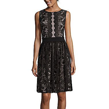 jcp | London Style Collection Sleeveless Lace Fit-and-Flare Dress - Petite