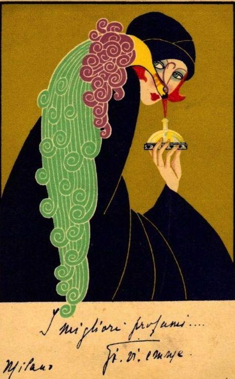 Gorgeous c.1925 Italian Perfume Advertising Postcard: