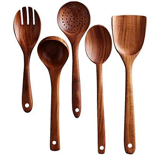 Wooden Kitchen Utensils Set Wood Spoons For Cooking Wooden Spatula Wooden Salad Fork Cooking In 2020 Wooden Kitchen Utensils Wood Utensils Wooden Cooking Utensils