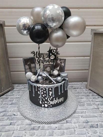 Balloon Cake Topper Mini Garland Silver Tortas De Cumpleanos
