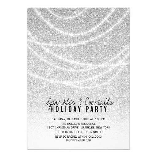 Stylish Holiday Chic Silver Glitter Sparkles Party Invite – Custom Holiday Party Invitations