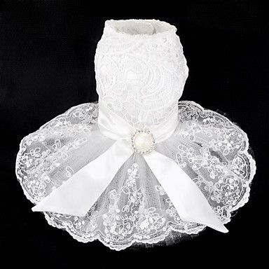 Elegant Wedding Dress With Lace Bowknot For Pets Dogs Assorted Sizes