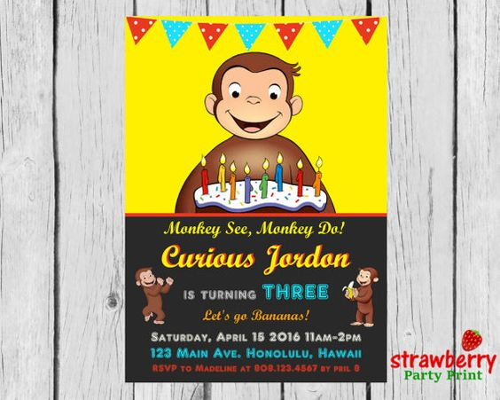 Curious George Birthday Invitation, Monkey Party Invite, Digital Printable, Custom Invitation NOT Instant Download