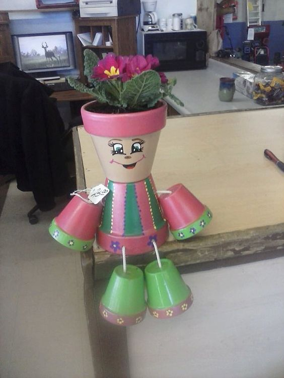 4 Pink And Green Flower Pot Person Planters Awesome
