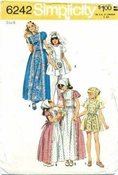 Simplicity 6242 Sewing Pattern Folklore Flower Girl Boho Dress Size 6