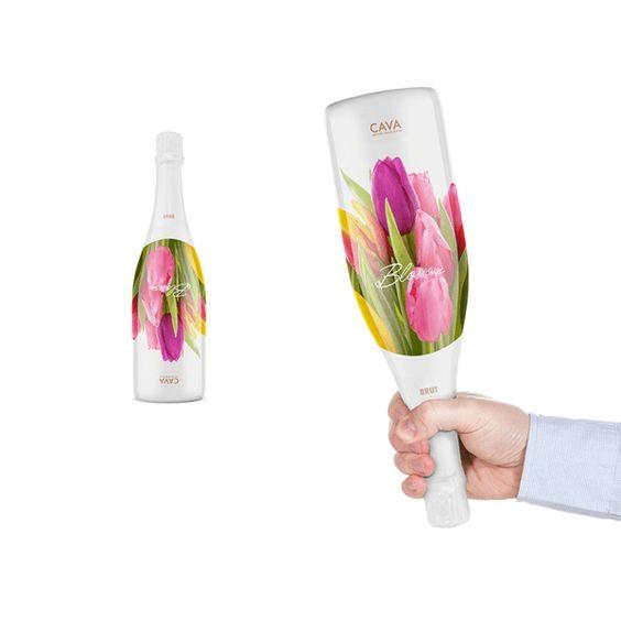 ワインボトルを逆さまに持つと…。うまいデザイン!◆プレゼントしたくなる! まるで花束のような一石二鳥のパッケージのワインボトル – Blossom Cava | STYLE4 Design