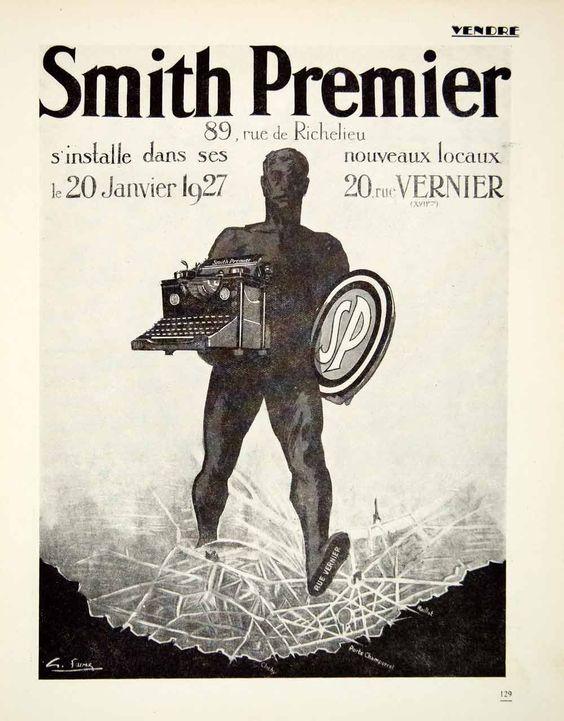 1927 Ad Smith Premier Typewriter 20 Rue Vernier Giant French Machine Paris Map #vintagetype