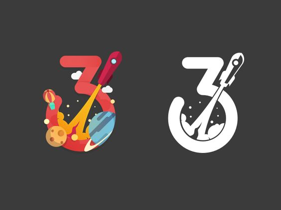 Great color and one-color vector design. Number Three by Angus J