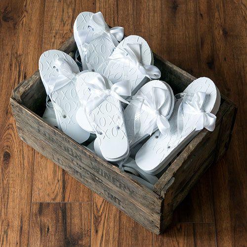 White XO Embossed Flip Flops - Confetti.co.uk