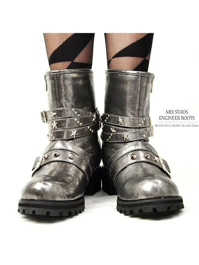 Mix Studs Engineer Boots Metalic / See more at http://www.cdjapan.co.jp/apparel/new_arrival.html?brand=LIS #harajuku
