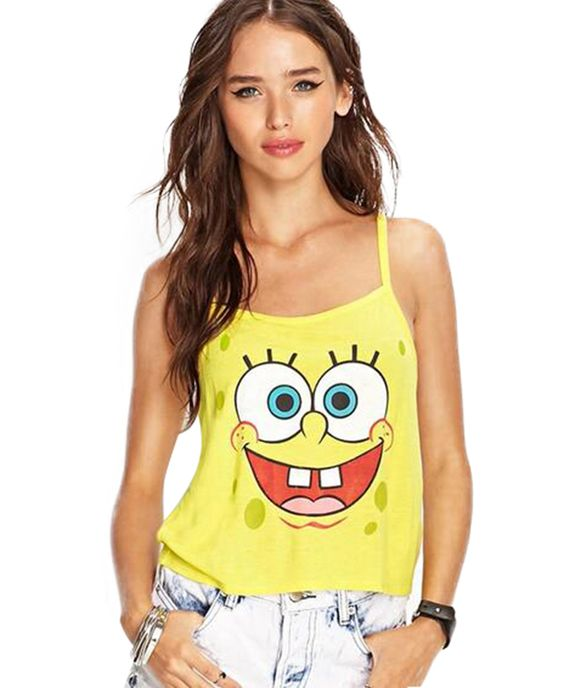 Strappy Tank with Cartoon Print