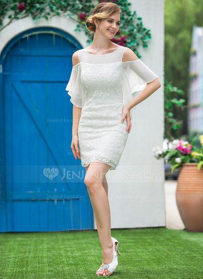 Sheath/Column Off-the-Shoulder Short/Mini Chiffon Lace Wedding Dress With Cascading Ruffles (002050394)