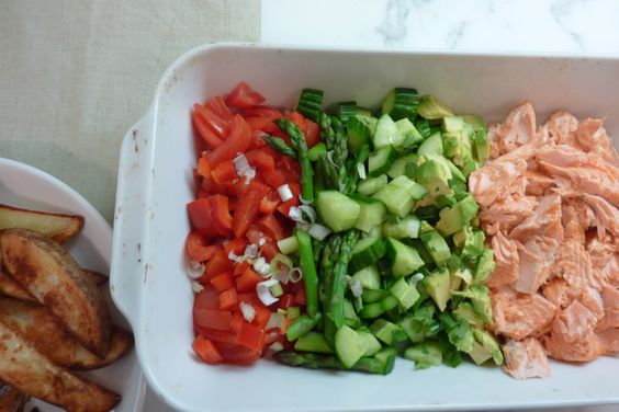 ... and veggies galore... | Pinterest | Salmon Salad, Salmon and Ovens