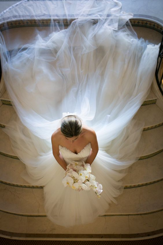 Beautiful bride photo! Love the tulle train and long veil.: