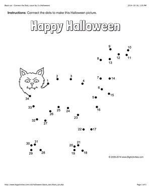 Halloween connect the dots page featuring a pumpkin. Multiple ...