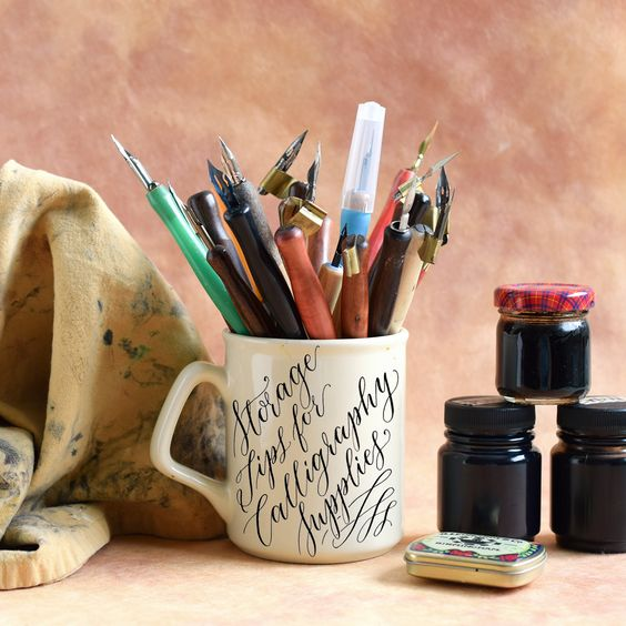 Storage Tips for Calligraphy Supplies   The Postman's Knock - In this blog post, you'll learn tips for storing and organizing various different calligraphy supplies such as pens, nibs, and paper.