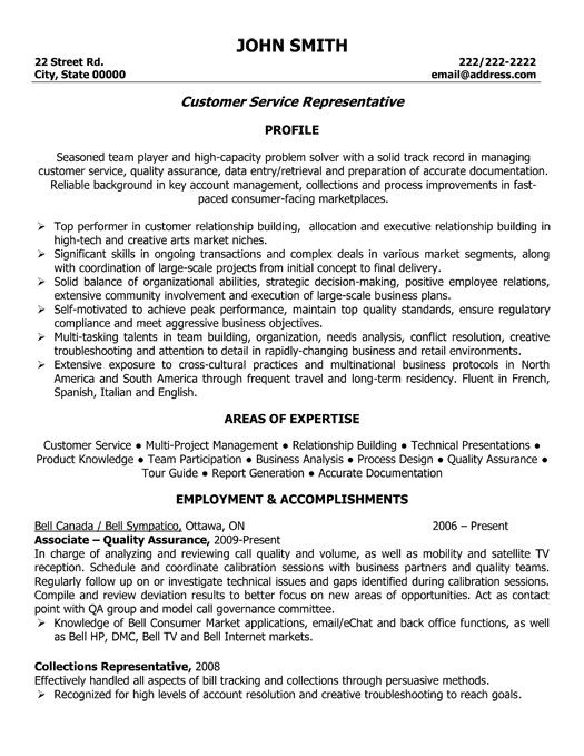 customer services representative resumes
