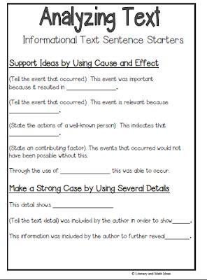Text response essay sentence starters for writing