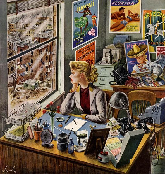 rogerwilkerson:    Daydreaming, art by Constantin Alajalov, detail from February 12, 1949 cover of Saturday Evening Post:
