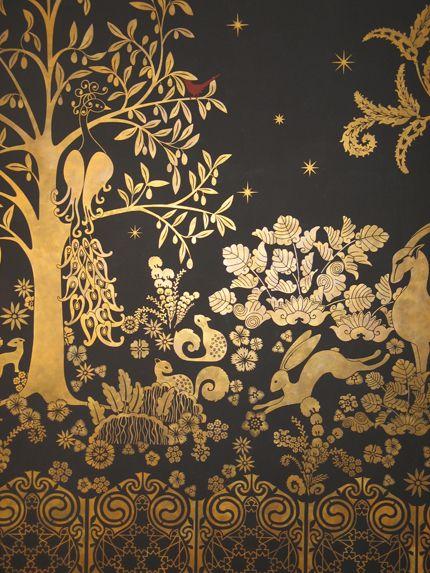 Mural Art Deco en Oro. ¡Impresionante!: