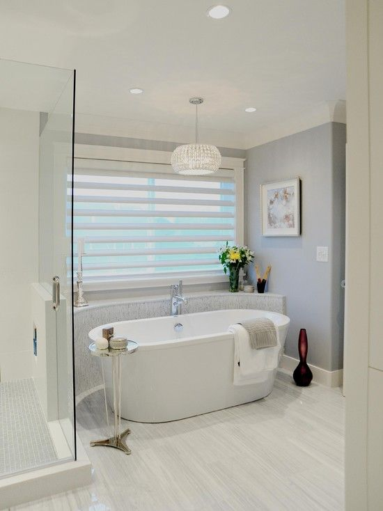 Master Bathroom W Half Wall Behind Tub Master Bath Inspiration - Blinds for bathroom window in shower for bathroom decor ideas