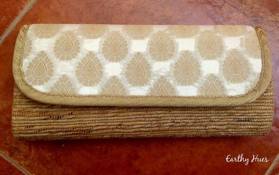 Banana fibre clutch with Beige Brocade Silk fabric