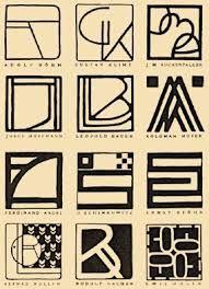 ver sacrum vienna - Google Search monogramas dos Secessionistas. Quadrado, branco, preto. Os 3 principios que garantiam uma linguagem nobre.