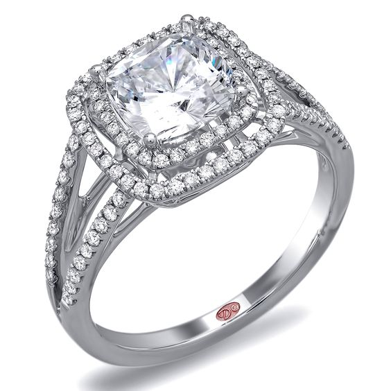 Check out this stunning double halo cushion cut diamond split shank engagemen