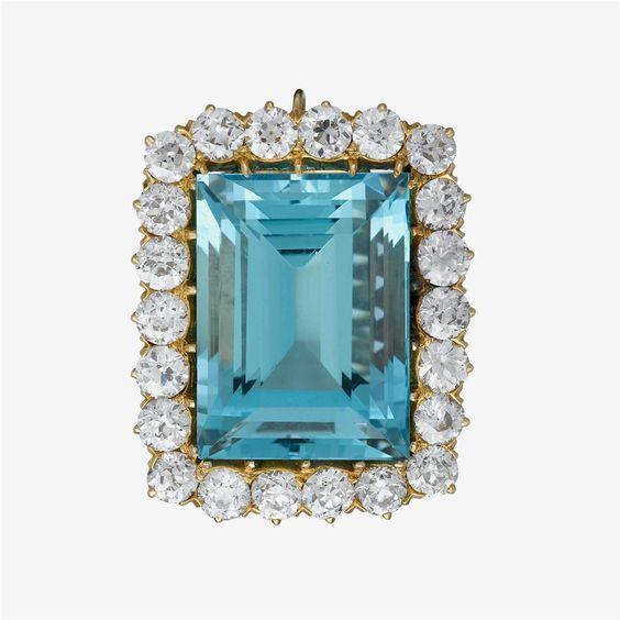 Aquamarine, Diamond and 18kt Gold Enhancer
