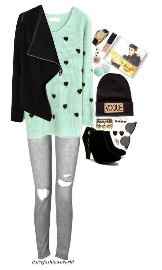 """""""Evelina Barry"""" by itsicefashionsworld ❤ liked on Polyvore featuring Mother, Minimum, Jamie Jewellery, Ray-Ban, Love Nail Tree, Eos, Topshop, Edward Bess, Miss Selfridge and women's clothing"""