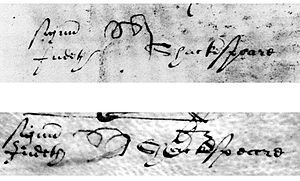 """Judith Shakespeare's """"pigtail"""" mark (a cursive """"J"""" facing down)... Judith Quiney née Shakespeare, was the younger daughter of William Shakespeare and Anne Hathaway and the twin of Shakespeare's only son Hamnet Shakespeare. She married Thomas Quiney, a vintner of Stratford-upon-Avon. The circumstances of the marriage, including Quiney's misconduct, may have prompted the rewriting of Shakespeare's will. Thomas was struck out, while Judith's inheritance was attached to safeguard it from her…"""