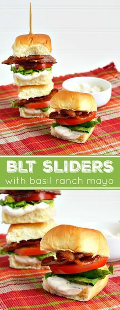 Make this traditional summer sandwich mini sized with BLT Sliders and a Basil Ranch Mayo Recipe